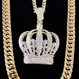 CROWN SET 18K GOLD DIAMONDS cz CHAIN MADE IN ITALY